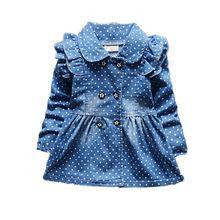 Polka Dot dievčatko bundy jar-jeseň Full Length Dievčenská džínsové bundy móda…