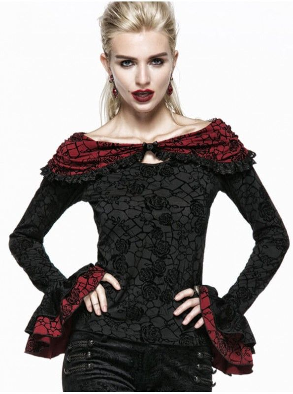Ladies Gothic Black Rose Print Top with Red Cape is made with contrasting black and rose flocking elastic knit fabrics. Cape design on the shoulder to buy this product visit: goo.gl/UzXcnQ