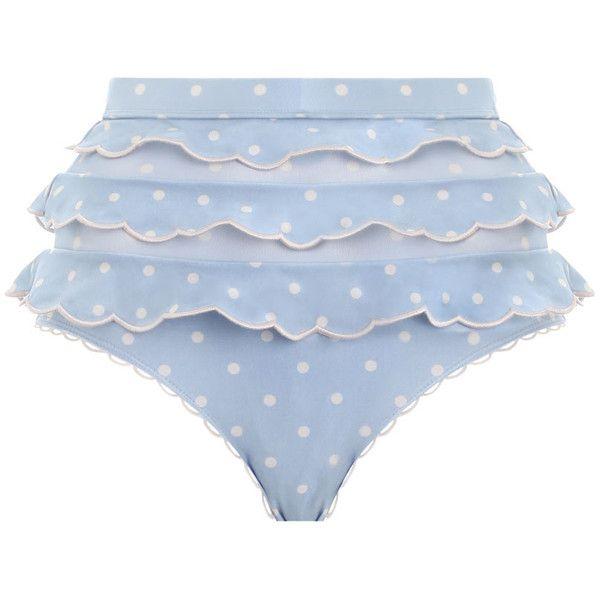ZIMMERMANN Helm  Frilly High Pant Bikini Bottom ($215) ❤ liked on Polyvore featuring swimwear, bikinis, bikini bottoms, blue polka dot bikini, swim wear, polka dot high waisted bikini, swimming bikini and blue bikini bottoms