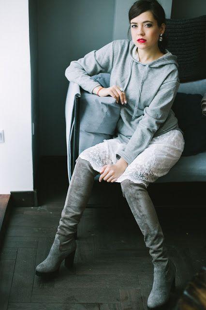 Серая толстовка-платье - Romwe  Юбка - Romwe  Сапоги - Respect     Быть edgy означает иметь смелость следовать своим мечтам, и не обраща...