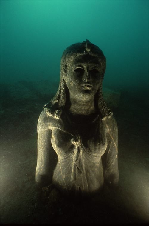 This is a statue found at Cleopatra, Queen of Egypt's palace, under water in Alexandria. She rose to power in 51 BC