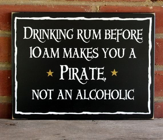 Drinking Rum Pirate Wood Sign Funny Beach Wall Decor  #TheCountryWorkshop #Nautical