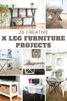 WOW!! These are amazing projects!   X-leg furniture  X-table X-leg desk   woodworking plans #woodworking #DIYfurniture #DIYdesk #diybench