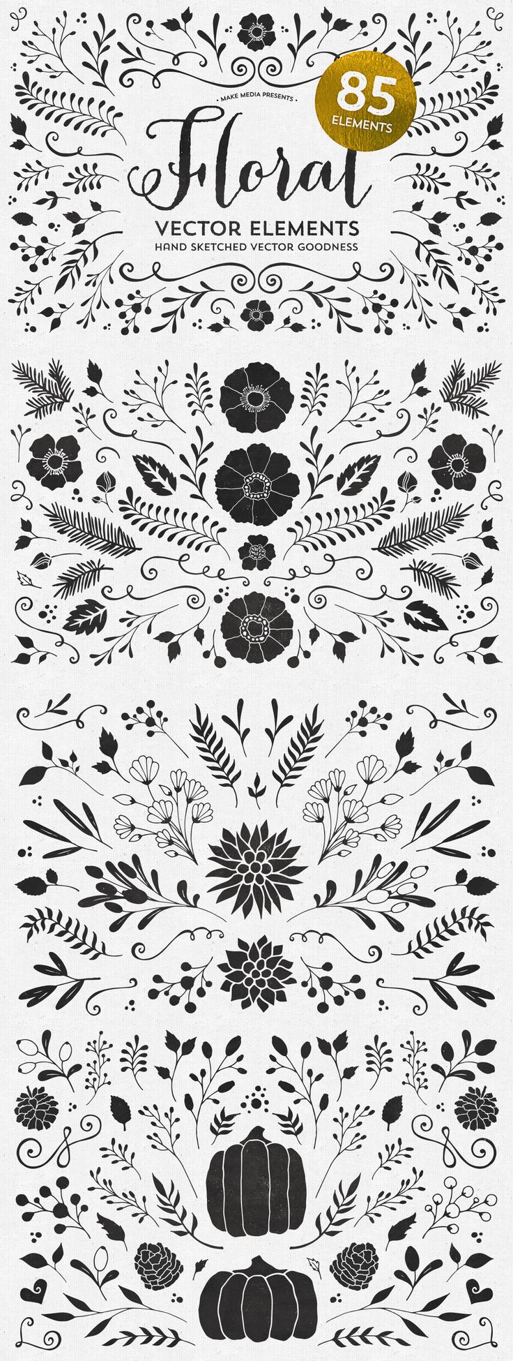 Just in case you're looking for some new vector elements, here are 85 beautiful, hand-sketched floral vectors. Use the elements on wedding invitations, save the date cards, flyers, apparel, as photo overlays and more!