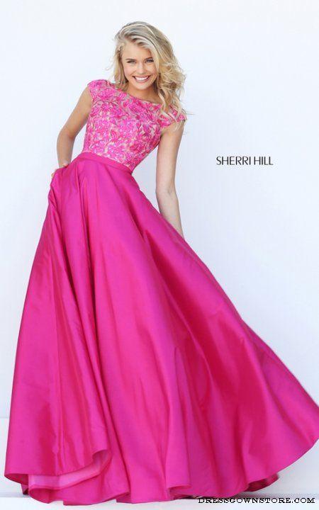 Beaded Sherri Hill 50346 Fuchsia Cap Sleeve Prom Dress