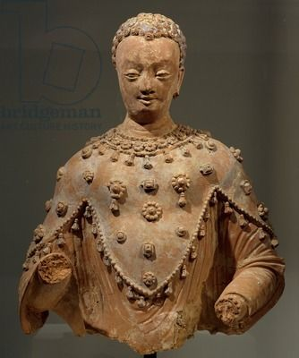 Buddha dressed as pilgrim with three points, terracotta statue from Fondukistan monastery, Ghorband Valley, Afghanistan, 7th century