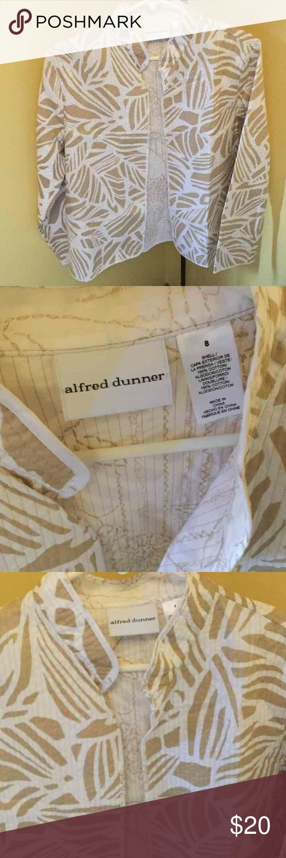 """Women's 8 White Tan Blazer Alfred Dunner Women's 8 White Tan Blazer Alfred Dunner  Cute as can be! """"Freshly laundered.""""                              ♡GOD BLESS♡                    ☆BUNDLE AND SAVE 5%☆              ♡ASK I WILL REPLY PROMPTLY♡       ☆SHARE & FOLLOW I WILL DO THE SAME☆    ☆REASONABLE OFFER'S ALWAYS WELCOMED☆ Alferd Dunner Tops Blouses"""