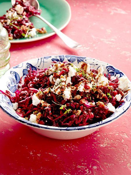 Rotkohl-Rote-Bete-Salat mit Feta
