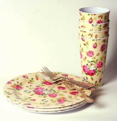 """Melamine Chintz Dishes  First introduced in 1830, these unbreakable dishes are created from an organic substance. A charming antique floral is rendered upon classic and durable lunch service for four. 10"""" plate. 6"""" cup."""
