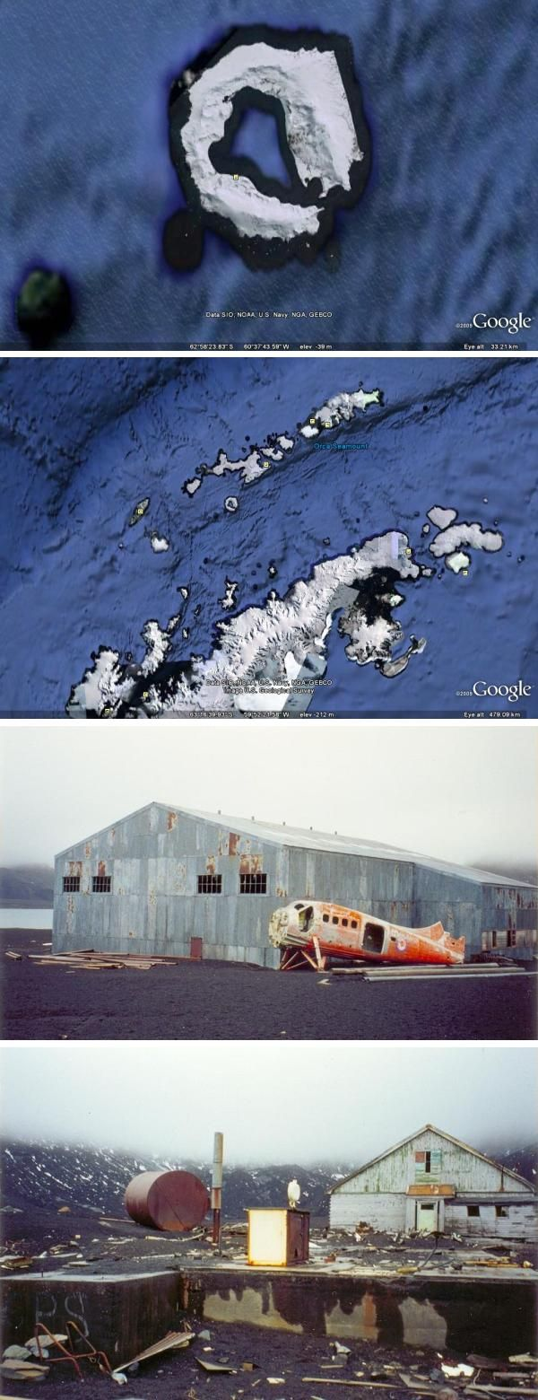 Deception Island lies among the South Shetland Islands off the Antarctic Peninsula