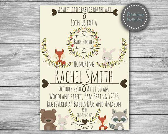 This adorable Woodland Invitation is perfect for Woodland theme Baby shower!  ► Invitation will be personalized and emailed to your ETSY email address within 24-48 hours. No items will be shipped in the mail.  Invitation size- 5x7  ►FORMATS◄ You will receive 2 format files ● JPEG are for Photo Lab Printing (Walmart, Walgreens, Staples) or can be sent via email. ● PDF files: Are used for Home printing and some print shops (office depot, office max).  ►During checkout in the message box notes…
