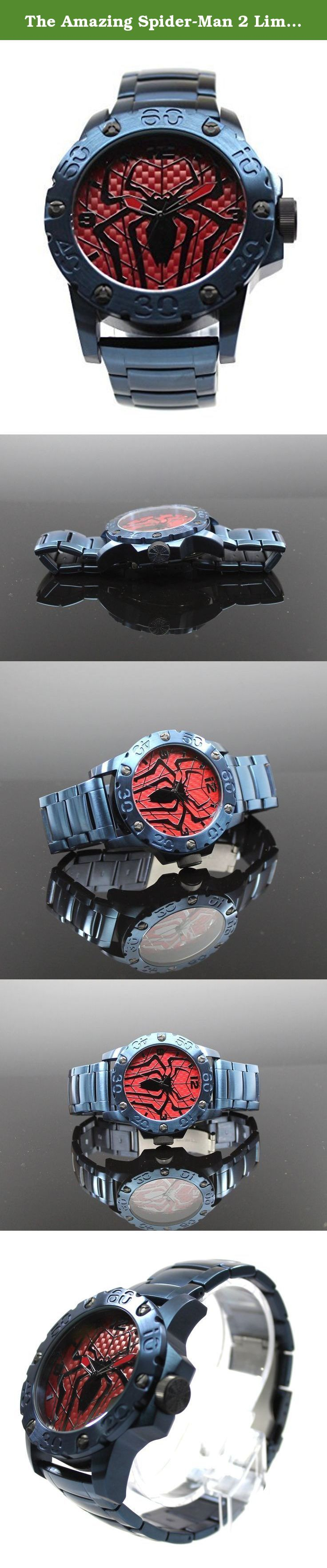 The Amazing Spider-Man 2 Limited Edition Exclusive Watch (Spiderman SPM2254). This watch is as amazing as the web slinger himself for it is a true quality time piece perfect for Spidey fans everywhere. Accessorize like Peter Parker with this exclusive Spider-Man themed watch that features a blue band and a massive case. The dial of the watch is inspired by the texture of Spiderman's suit and logo in the latest Spidey movie. Band is about 8.75 inches long and has a fold-over clasp with the...