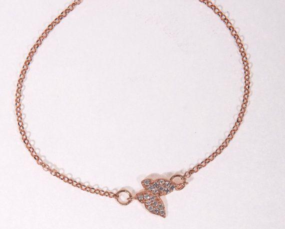 Rose gold bracelet dainty bracelet butterfly by JewelryFamousWorld