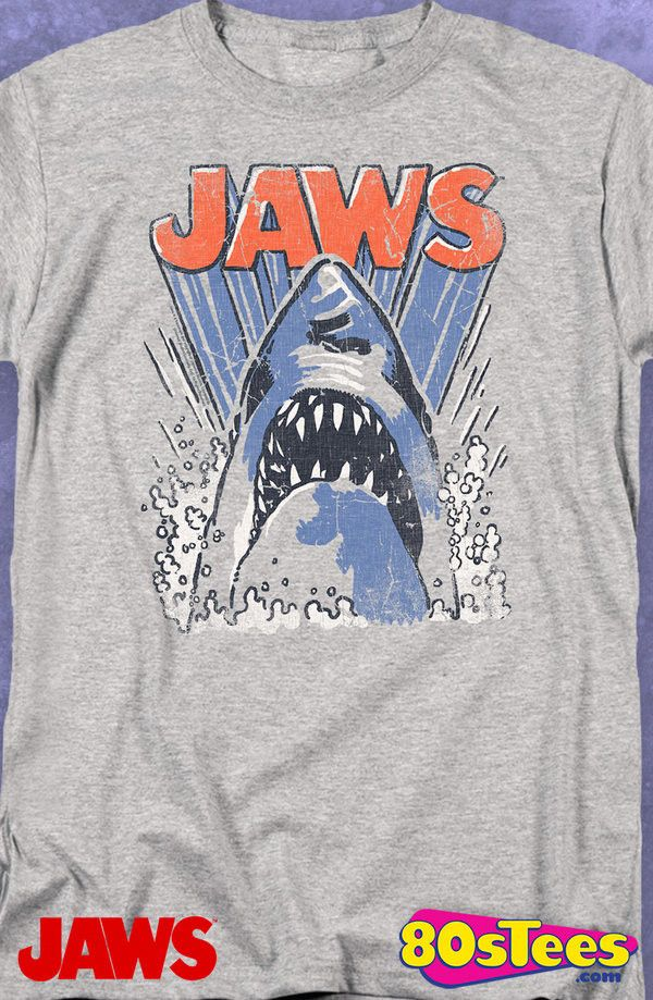 Jaws Animated Shark T-Shirt: Jaws Mens T-Shirt From the popular film, Jaws, this shirt illustrates the awesomeness of nature.  A must-have to wear while enjoying the film or video.