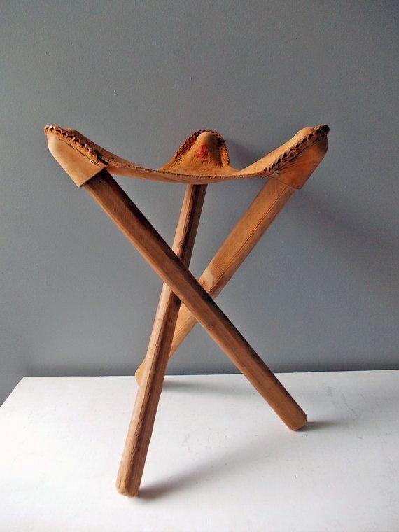Three Legged Leather Stool Vintage Footstool or by HippopoVintage, $45.00
