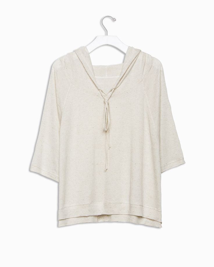 Cadman Sweater - Over sized dolman sweatshirt with drawstring hood and short sleeves
