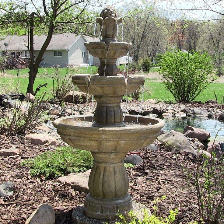 Sunnydaze Three-Tier Outdoor Water Fountain, 48 Inch Tall, Red, Outdoor Décor