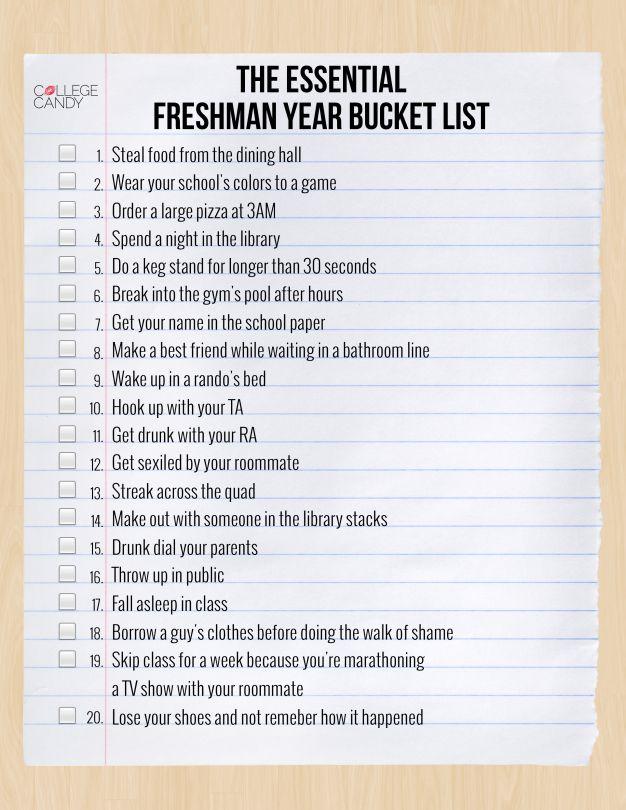 The Essential Freshman Year Bucket List