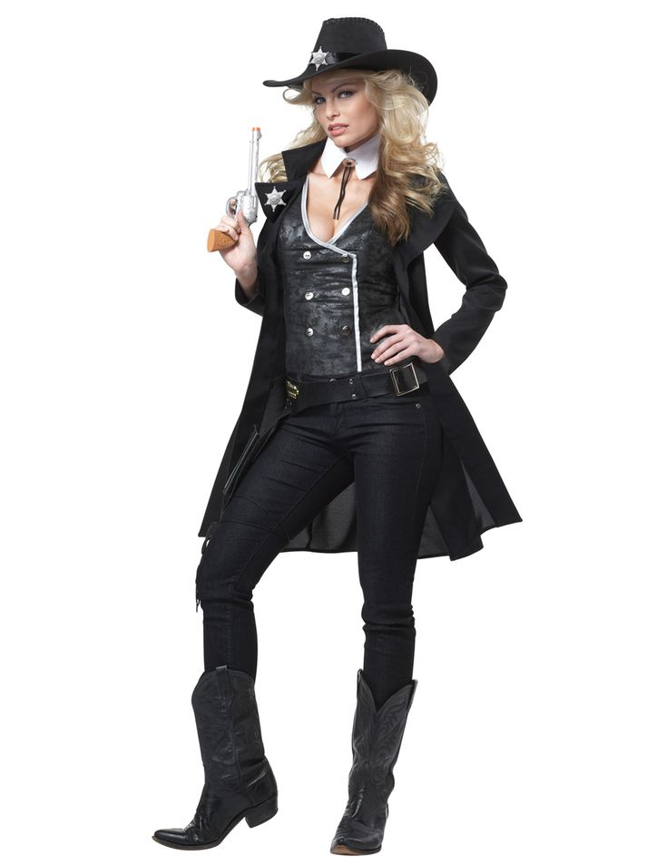 Sheriff costume for adult: This Sheriff costume consists of a coat, a vest, a belt, a collar, a hat and two sheriff badges (trousers and boots not included).The black mid-length coat with turn-up is top be worn opened.The...