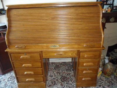Antique Style Swan Neck Roll Top Oak Desk and Captains Chair