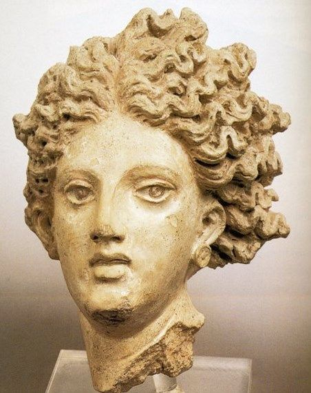 Head of Aphrodite figure - Etruscan Terracotta, found Temple at Pygi on Santa Severa, circa 4th c. B.C. - at the Etruscan Museum, Rome