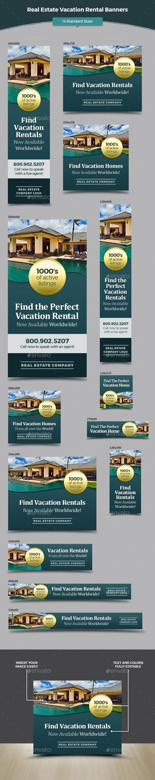 Real Estate Vacation Rental Banners Template #design #ads Download: http://graphicriver.net/item/real-estate-vacation-rental-banners/12741106?ref=ksioks
