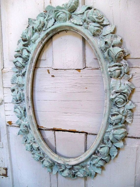 Vintage cottage wall decor : Vintage ornate rose frame distressed blue white shabby