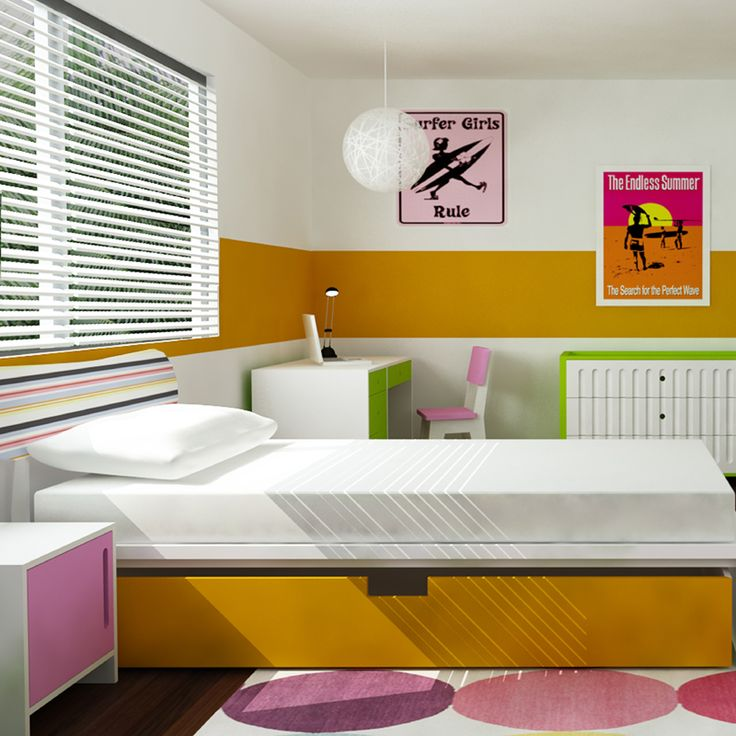 Cool, colorful and modern girl's room design