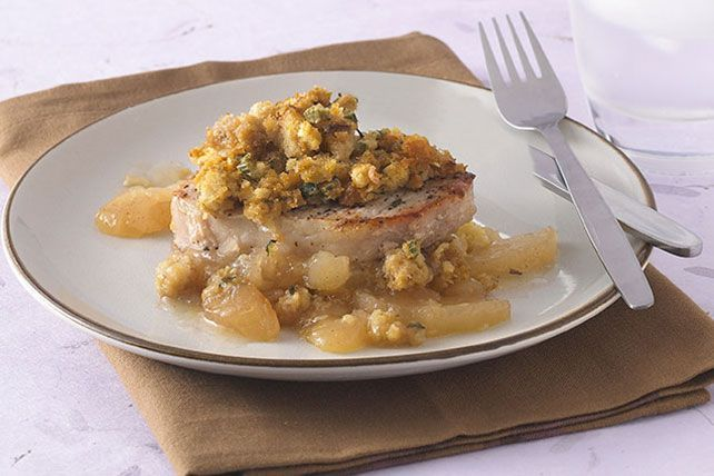 You won't believe how fast and easy it is to create a pork chop dish any night of the week—complete with savory stuffing and baked apples.
