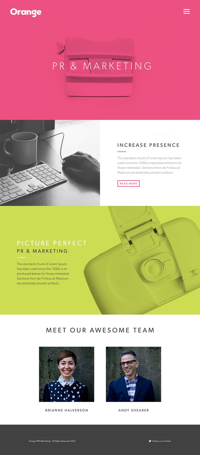 Orange PR & Marketing Landing Page — Designspiration