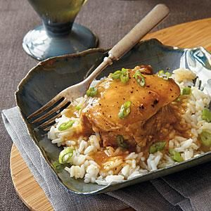 This simple chicken dish becomes a whole lot more savory when stuck in a slow cooker. The sweet juice mixture gives the chicken its undeniably delicious flavor. Serve over hot cooked rice.