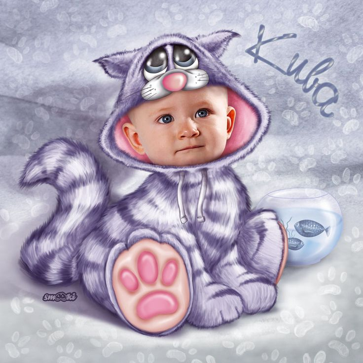 Little cat - personalised print, picture and poster for children - www.smooki.pl