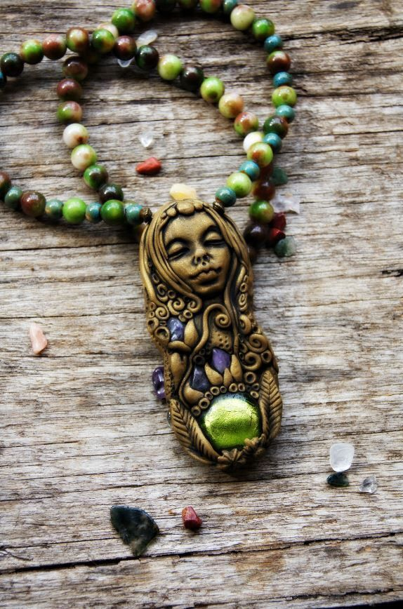 Inner Peace Goddess Necklace . OOAK . Handcrafted . Hand Sculpted Clay, Healing Crystal Jewelry TRaewyn Jewellery by TRaewyn on Etsy https://www.etsy.com/listing/187453913/inner-peace-goddess-necklace-ooak