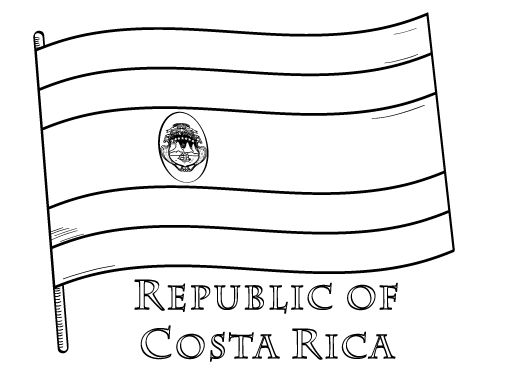 Printable Costa Rica Flag Coloring Page Free PDF Download