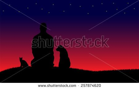 Silhouettes of man and dog and cat - stock vector