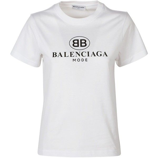 T Shirt found on Polyvore featuring tops, t-shirts, blanc, print top, cotton t shirts, print tees, balenciaga t shirt and patterned tops