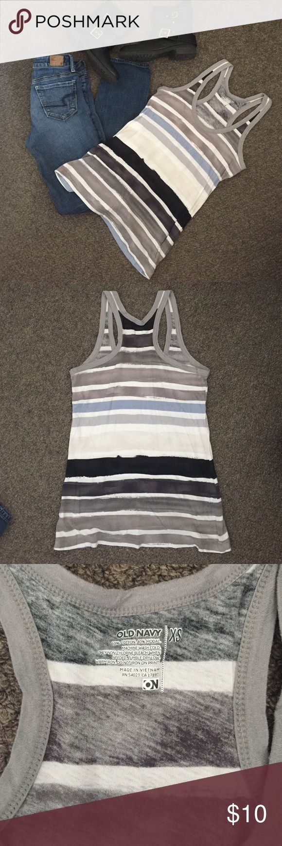 💋Old Navy Striped Racerback Tank Top, Size XS 💋Old Navy Striped Racerback Tank Top, Size XS.  Excellent condition! No flaws! (Jeans and boots (sold!) also for sale in my closet! 💁🏼).                                                             🎉I'm trying to purge my closet so make an offer 😊🎉. All clothing is clean, any flaws will be noted in the description, and come from a smoke free home 😁💁🏼.                                                      💫Bundle to save!✨ Old Navy Tops…