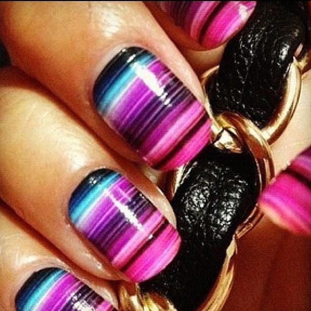 Blue & purple striped nails