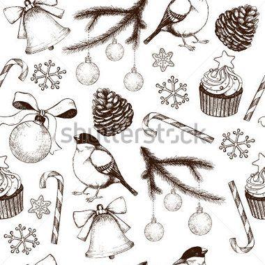 Vektorové bezešvé pattern s inkoustem ručně tažené Vánoce a nový rok prvky a ilustrace pro svátečními nebo pozvání design. Vánoční pozadí izolované na bílém.