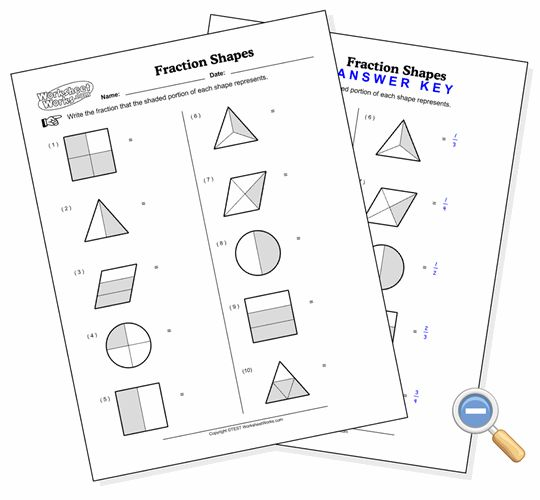 Fraction Shapes - WorksheetWorks.com