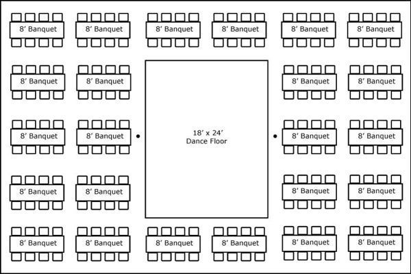 40′ x 60′ w/ Banquet Tables & Dance Floor