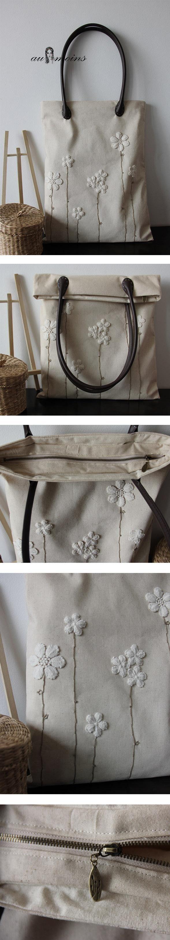 一品泊手工缝制 蕾丝花朵 清新 棉麻布包包 …_来自visitvisit的图片分享-堆糖网