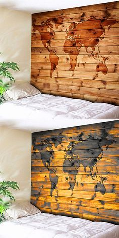 world map wall hanging wood grain print tapestry home decor
