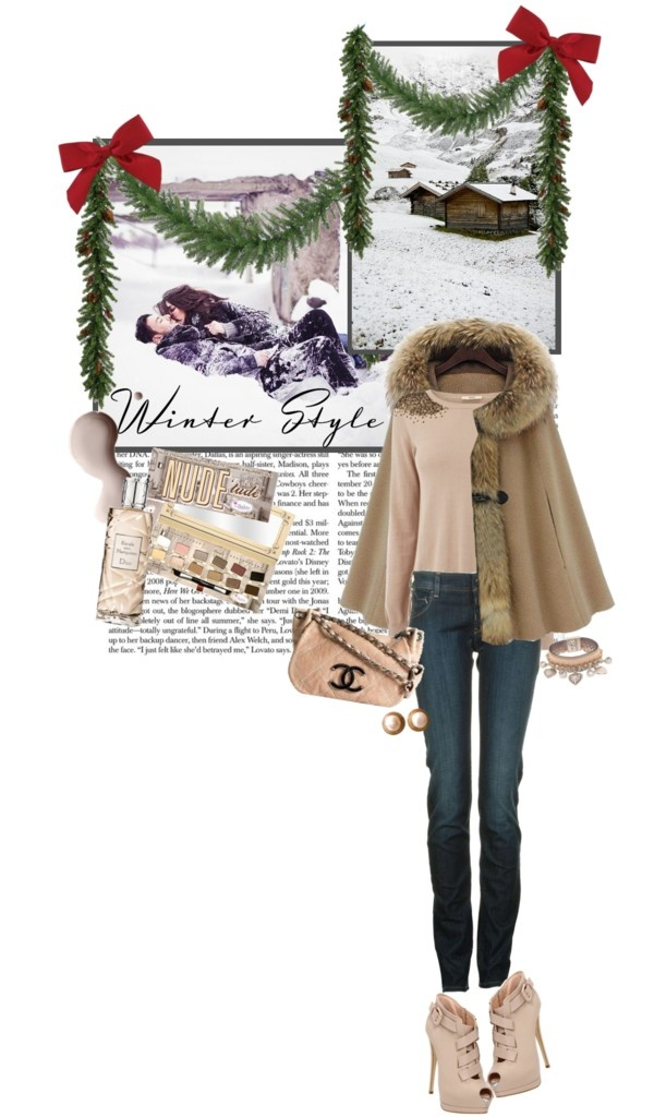 """Nude Winter"" by maude-lebowski ❤ liked on Polyvore"