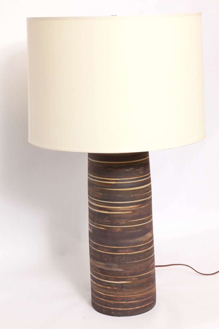 Pair of 1950s Modernist Ceramic Table Lamps, Signed Martz | From a unique collection of antique and modern table lamps at https://www.1stdibs.com/furniture/lighting/table-lamps/