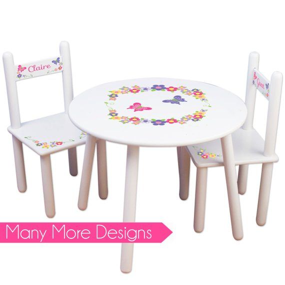 Girls Table Chair Set Personalized Tea Party Table Chairs Kids