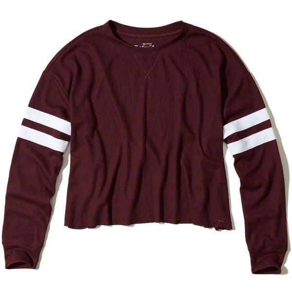 Hollister Must-Have Oversized Waffle T-Shirt ($25) ❤ liked on Polyvore featuring tops, t-shirts, burgundy, striped tee, crew neck t shirt, burgundy t shirt, crew-neck tee and stripe tee