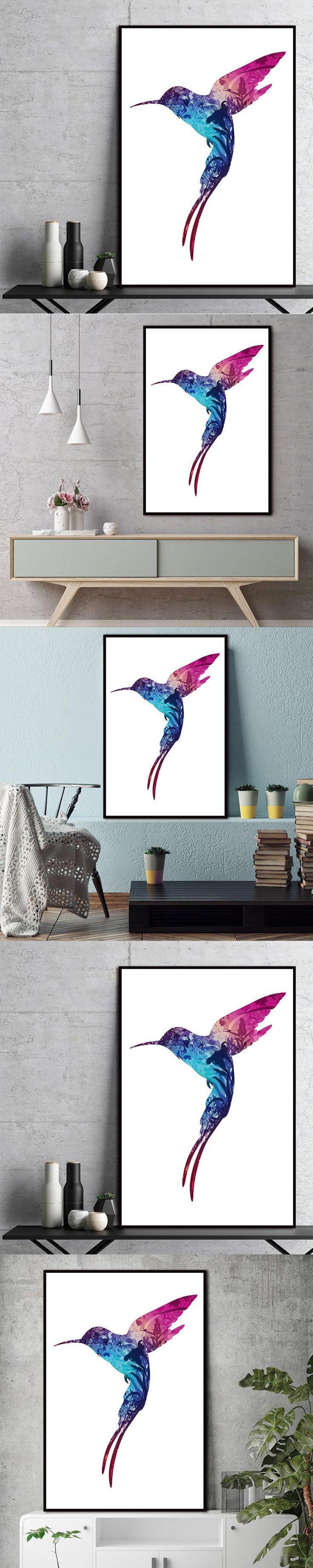 Scandinavian Canvas Painting Bird Natural Nordic Abstract Flower Wall Pictures Living Room Art Decoration Pictures No Frame