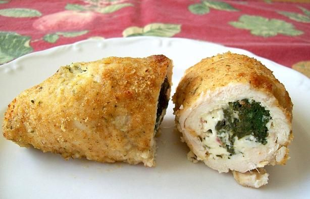 Spinach & Feta Stuffed Chicken Breast (Quick & Easy). Made this tonight. Used 1 bag fresh spinach, added roasted red bell pepper strips, and halved the amount of butter. Pretty AND delish! I would make again and think it would be great to serve for company!