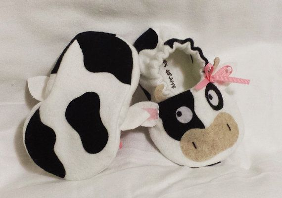 Cow Baby Booties - Newborn, Infant, Baby Slippers, Footwear, 0 - 18 Months - Boys or Girls on Etsy, $26.00